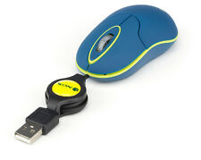 NGS Sin - Optical Mouse with Retractable USB Cable, Scroll-wheel 1000 DPI Blue