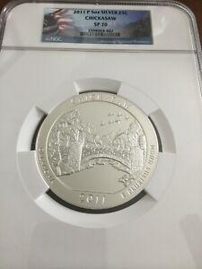 2011-P Chickasaw  ATB 5 Oz Silver Coin NGC SP70