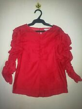 H&M RUCHED SLEEVE SHEER TOP TAG SIZE 6