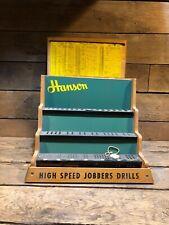 Vintage Hanson Drill Bit Cabinet Organizer Hardware Store General Antique Chart