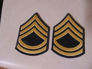 MILITARY PATCH SET OF 2 US ARMY SERGEANT FIRST CLASS SEW ON RANK FOR DRESS BLUES