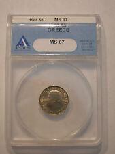 Greece 50 Lepta 1966 Anacs Ms-67 (A Super High Grade Coin!)