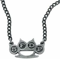 Gothic Five Finger Death Punch Knuckle Necklace - English Pewter