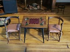 MINIATURE ARTISAN JOANNA SCARBORO HAND PAINTED CHECKERBOARD TABLE & 2 CHAIRS