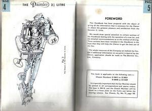 Daimler 2½ Litre DB 18 Original Owners Handbook 1946-47 Ex Library