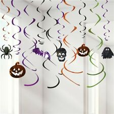 12 Halloween Decorations Skulls Pumpkins Ghosts Party Foil Hanging Swirls