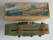Vintage Japan Showa Coral Sea Aircraft Carrier 43 Tin Wind-up in Box #CK114