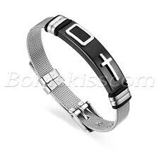 Mens' Womens' Couple Stainless Steel Cross Bangle Mesh Chain Bracelet Adjustable