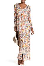 Ella Moss Wildflower Long Sleeves Floral Print Silk Maxi Dress Multi Size S