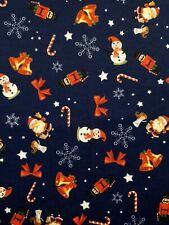 4 Metre navy xmas print spun poly fabric strecth crafts top quality