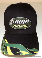 Amp Energy Drink Racing Adjustable Ball Cap Hat NEW Black & Green RARE