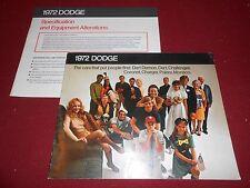 1972 DODGE CHALLENGER DART CORONET CHARGER POLARA MONACO BROCHURE 72 CATALOG +