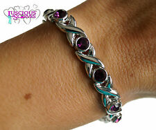 LADIES SUPER STRONG NEW BIO MAGNETIC SILVER ALLOY HEALING BRACELET PURPLE STONES