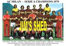 AC MILAN F.C.TEAM PRINT 1979 ( SERIE A CHAMPIONS ) ( CAPELLO/ BARESI /RIVERA )
