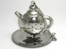 Stainless steel teapot shaped tea infuser w/ stands & tray