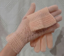 1930`s Knit Pink Gloves Art Deco  Hand Knit with sweet Details