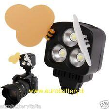 Faro Faretto Foto video Luce 3 Led Alta luminosità Light HIGH BRITE Videocamera