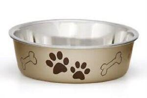 Loving Pets BELLA BOWL Stainless Steel Dog Feeder Bowl METALLIC CHAMPAGNE