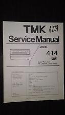 Tmk 414 service manual original repair book vcr tape player