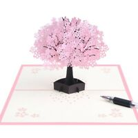 3D Pop Up Card Cherry Blossoms Greeting Cards Christmas Birthday New Year Gift