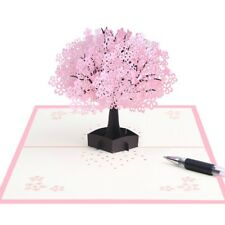 3D Pop Up Cherry Blossoms Greeting Card Christmas Birthday New Year Invitation