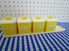 Retro Nally Ware Spice Canister Set,Qty 4 Yellow, Rockabilly Era,Good Condition
