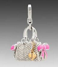 NEW Juicy Couture Charm Pave Daydreamer Bag Silvertone Pink Bows