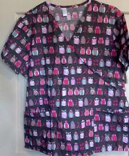 Womens Ribbon Owl Print Plus Top 1X Pink Gray Nurse Hospital Medical