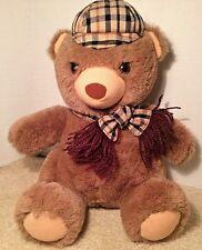 Dakin Arthur Plush Teddy Bear 1984 with Brown Tan Plaid Hat Scarf