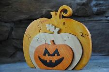 Jack O Lantern Halloween Holiday Fall Decoration Wooden Pumpkin Puzzle Toy
