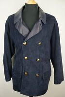 Seraphin Midnight Blue Brass Button Suede Leather Jacket Sz 50 Made in France