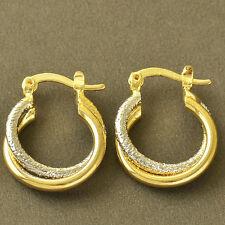 New Arrival Womens Girls 2-Tone Gold Filled Scrub Hoop Earrings Snap Closure