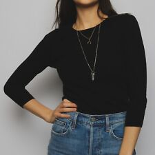 J CREW T Shirt 3/4 Sleeve Black Fitted 90's Style Size XS