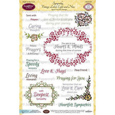 Spellbinders JUSTRITE CLEAR Stamps SYMPATHY VINTAGE LABELS EIGHT & NINE CR-02107