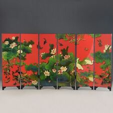 Beautiful Chinese Lacquer Handwork Old Crane Lotus Painting Screen Decor