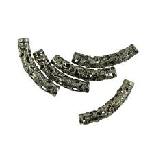 5pcs Tibetan Silver Floral Curved Spacer Tube Beads 44 x 9 mm
