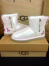 UGG AUSTRALIA SHINY CLASSIC MINI ZIP BREAST CANCER BABY PINK BOOTS LTD ED US 7