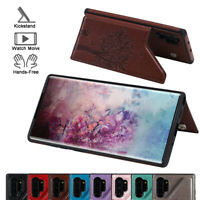 Card Slot Leather Flip For Samsung Note 8 9 10 Plus Wallet Back Case Cover Stand
