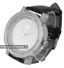 mens diamond giant 60 mm silver clubbing ice out watch leather dlx Gift Box Maxx