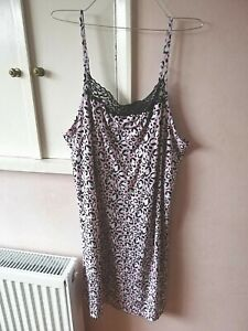 TU WOMENS PINK BLACK LEOPARD PRINT DRESS SIZE 20 FRONT LACE SLEEVELESS LENGTH 39