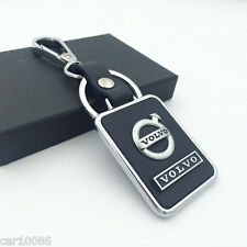 1PCS BLACK Leather Metal CAR Logo Key chain Keyring pendant key holder FOR VOLVO