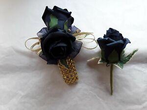 Prom /Wedding navy blue Rose / Gold Wrist Corsage & Buttonhole Diamante