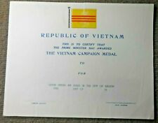 Vintage Republic Of Vietnam Campaign Medal Certificate Unnamed