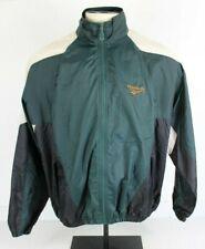 Vtg Reebok Men M Green Embroidered Nylon Windbreaker Jacket Lightweight Spellout