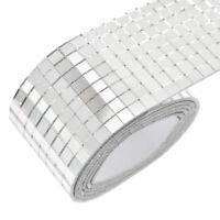 100x4cm Self Adhesive Glass Mosaic Sticker Mini Square Mirror Tiles Sheet Decals