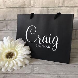 Black Personalised Groomsman Wedding Party Gift Bag Best Man Usher Page Boy