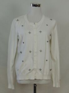 Tommy Hilfiger Sweater Cardigan Top Ivory Cream White Embellished 3D Cotton L