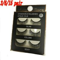 3/6/15 Pair Black Faux Mink Natural Cross Long Thick Eye Lashes False Eyelashes