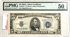 1934-A SILVER CERTIFICATE $5 PMG 50 ABOUT UNCIRCULATED STAR Fr. 1651* BLUE SEAL