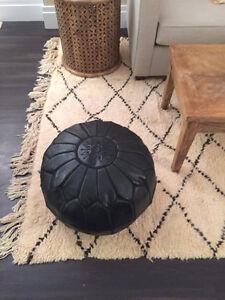 Moroccan Leather Ottoman Pouffe Pouf Footstool In Black
